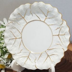 Noritake White & Gold Cabbage Leaf Ladle/plate